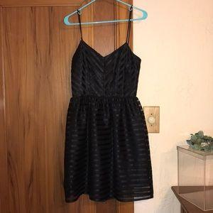 Black formal mini dress striped